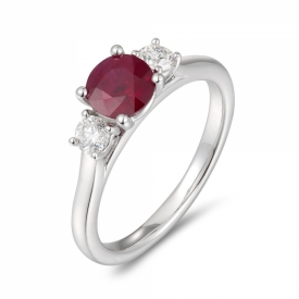 Round Ruby and Diamond Trio Ring 0.75ct