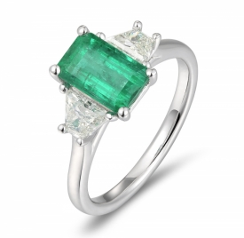 Emerald Cut Emerald Ring 1.57ct with Trapezium Shaped F VS Diamonds