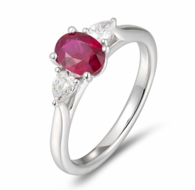 Oval Ruby and Pear Shaped Diamond Trio Ring in Platinum