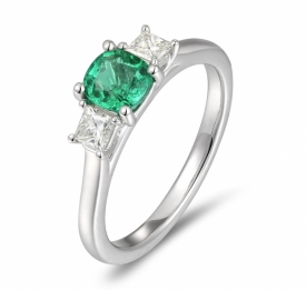 Emerald Round Ring 0.63ct with Square G VS Diamonds