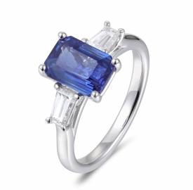 Emerald Cut Blue Sapphire and Shaped Diamonds