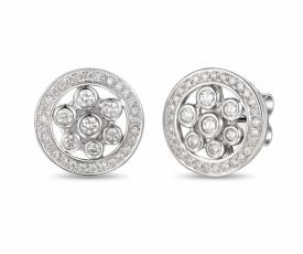 Art Deco Style Diamond Halo Earrings 0.49ct