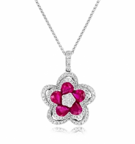 Ruby and Diamond Double Halo Flower Pendant
