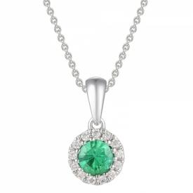 Round Emerald and Diamond Pendant 0.13ct