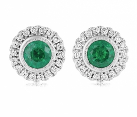 Vintage style Round Emerald Earrings 0.97ct