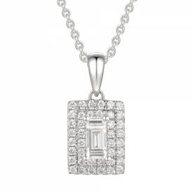 Double Framed Emerald Cut Diamond Pendant