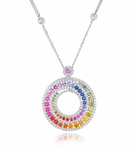 Multi-coloured Sapphire 2.41ct and 1.15ct Diamond Spiral Necklace