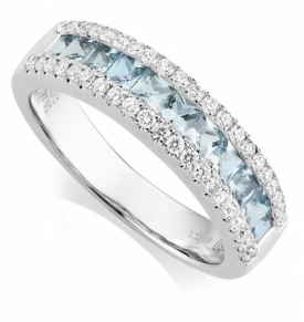 Aquamarine 0.60ct and Diamond 0.38ct Half Eternity Ring in 18ct White Gold