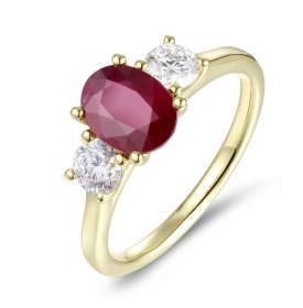 Oval Cut Ruby 1.55ct and Diamond Ring in 18ct Yellow Gold