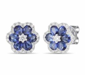 Blue Sapphire and Diamond Flower Earrings 1.30ct
