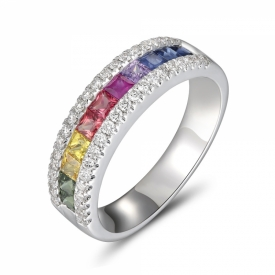 Sapphire Rainbow Half-Eternity Ring 1.04ct