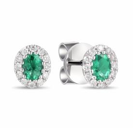 Emerald and Diamond Oval Earrings 0.45ct