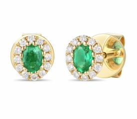 Emerald and Diamond Oval Earrings 0.26ct