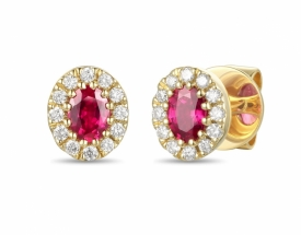 Ruby and Diamond Oval Earrings 0.42ct