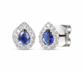 Teardrop Blue Sapphire and Diamond Earrings 0.37ct