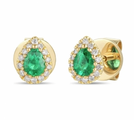 Emerald and Diamond Pear Shaped Earrings 0.22ct