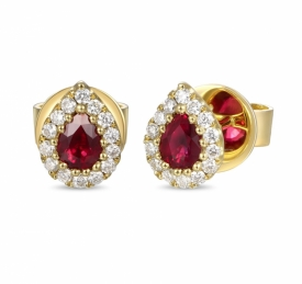 Ruby and Diamond Pear Shaped Earrings 0.39ct