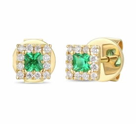 Emerald and Diamond Square Earrings 0.19ct