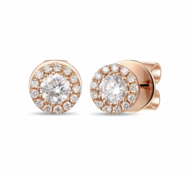 18ct Rose Gold Diamond Halo Earrings 0.36 G-H SI by Sheldon Bloomfield at Jeremy Bloomfield