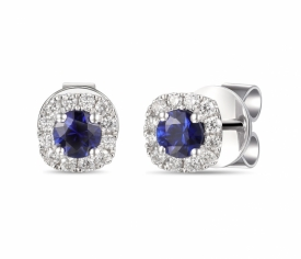 Blue Sapphire and Diamond Round Earrings 0.59ct