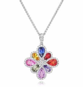 Multicoloured Sapphire and Diamond Pendant in 18ct White Gold