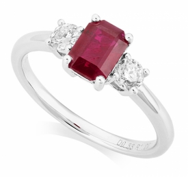 Emerald Cut Ruby and Diamond Ring in 18ct White Gold