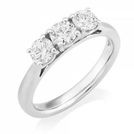 Platinum Brilliant Cut 3 Stone Ring  Diamond  1.51ct