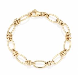 Handmade 9ct Oval and Twist Link Bracelet