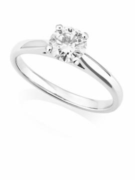 Platinum Brilliant Cut Diamond Ring - 0