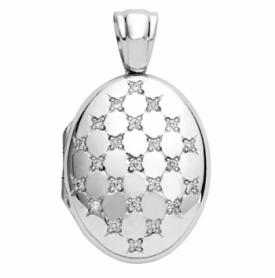 Oval Diamond Set Locket in 18ct White Gold