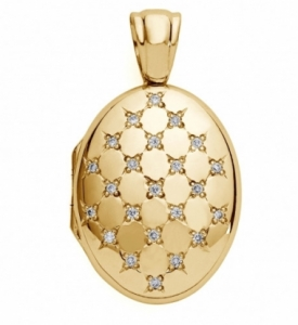 Oval Diamond Set Locket in 18ct Yellow Gold