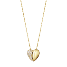 CURVE HEART Gold and pave Diamond pendant - 0