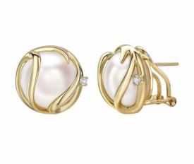 Mabe Pearl Earrings  14ct Yellow Gold 0.06ct Diamonds