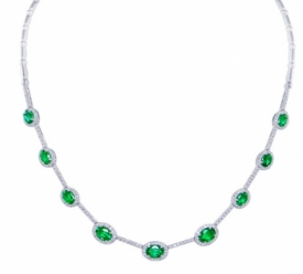 Empire Style Oval Emerald and Diamond Necklace in 18ct White Gold