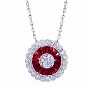 Ruby and Diamond Vintage Style Round Pendant 1.32ct