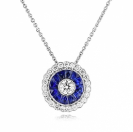 Blue Sapphire and Diamond Vintage Style Round Pendant 1.55ct
