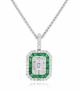 Opulent Vintage Style Emerald 0.61ct and G/H VS Diamond Pendant