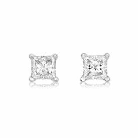 18ct White Gold Princess Cut Diamond earrings 0.50ct