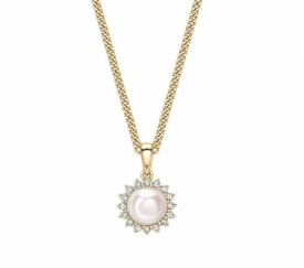 Akoya Pearl and Diamond Star Halo Pendant