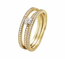 HALO Solitaire Ring in 18ct Yellow Gold with White Brilliant Diamonds