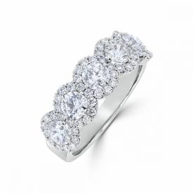 Round Brilliant Cut Diamond 5-stone Halo Ring in Platinum 1.45ct - 0