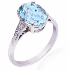 Oval Cut Aquamarine and Diamond Ring 2.11ct