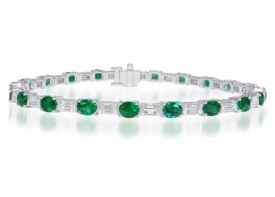 Oval Emerald and Diamond Baguette Deco Bracelet