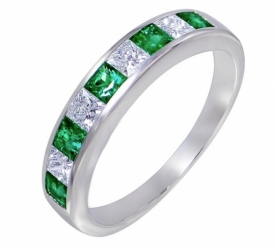 Emerald and Diamond Princess Cut Half-Eternity Ring