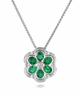 Emerald and Diamond Flower Vintage Style Pendant in 18ct White Gold by Sheldon Bloomfield