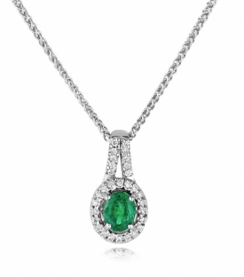 Emerald and Diamond Oval Pendant