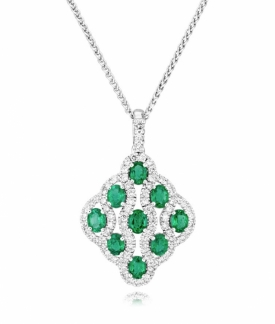 Emerald and Diamond Lattice Pendant