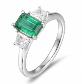 Emerald and Trapezoid Diamond Ring
