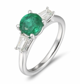 Emerald and Diamond Trio Ring