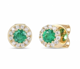 Emerald and Diamond Round Earrings